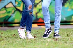 Young people in jeans and sneakers